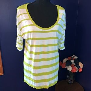 Apt9 Neon green and white striped ss top